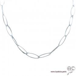 Collier, sautoir, chaîne grands, longs maillons ovales en argent massif, tendance, femme, création by Alicia