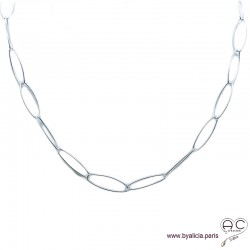 Collier, sautoir, chaîne longs maillons ovales en argent massif, tendance, femme, création by Alicia