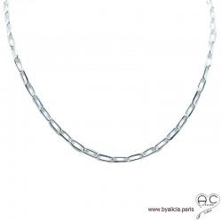Collier, sautoir, chaîne grands maillons ovales en argent massif, tendance, femme, création by Alicia