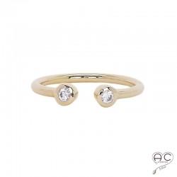 Bague Toi et Moi avec deux zirconium blanc, anneau fin ouvert en plaqué or, femme, empilable