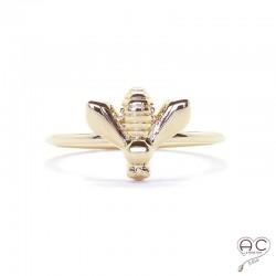 Bague abeille sur un anneau fin en plaqué or, empilable, femme