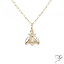 Collier avec abeille en plaqué or, ras du cou, femme