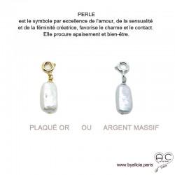 Breloque perle baroque, longue, blanche, pour les bracelets et les colliers en chaînes gros maillons, créations by Alicia