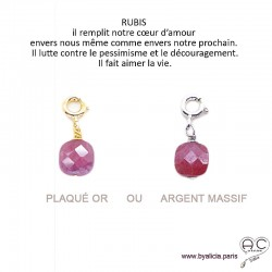 Breloque rubis, pierre fine pour les bracelets et les colliers en chaînes gros maillons, créations by Alicia