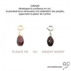Breloque grenat, pierre fine rouge pour les bracelets et les colliers en chaînes gros maillons, créations by Alicia