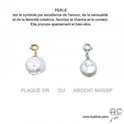 Breloque perle baroque, ronde, blanche, pour les bracelets et les colliers en chaînes gros maillons, créations by Alicia