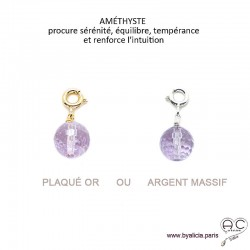 Breloque améthyste, pierre fine violet pour les bracelets et les colliers en chaînes gros maillons, créations by Alicia