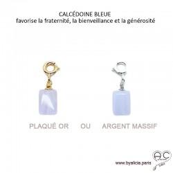 Breloque calcédoine bleue, pierre fine pour les bracelets et les colliers en chaînes gros maillons, créations by Alicia