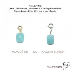 Breloque amazonite, pierre fine pour les bracelets et les colliers en chaînes gros maillons, créations by Alicia