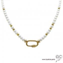 Collier en perles de culture d'eau douce avec grand fermoir ovale à vis, plaqué or 3MIC, ras de cou, création by Alicia