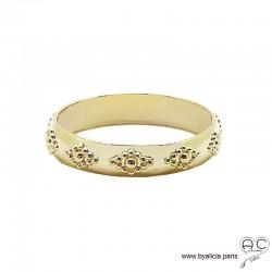 Bague anneau en plaqué or avec motif tours complet, empilable, femme, tendance