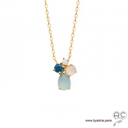 Collier avec agate bleue et pierre de lune en cabochon, pierre semi-précieuse, plaqué or, femme