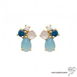 Boucles d'oreilles avec agate bleue et pierre de lune en cabochon, pierre semi-précieuse, plaqué or, femme
