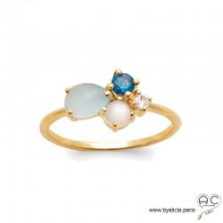 Bague avec agate bleue et pierre de lune en cabochon, pierre semi-précieuse, plaqué or, femme
