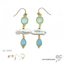 Boucles d'oreilles calcédoine et perles de culture baroques bâton, plaqué or, pierre naturelle bleue, création by Alicia