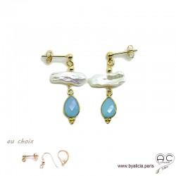 Boucles d'oreilles perles de culture baroques bâton et calcédoine bleue, plaqué or, pierre naturelle, création by Alicia