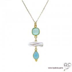Collier, pendentif calcédoine et perles de culture baroques longues, plaqué or, pierre naturelle bleue, création by Alicia