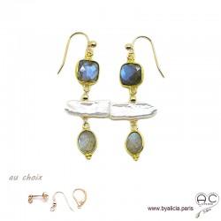 Boucles d'oreilles labradorite et perles de culture baroques bâton, plaqué or, longues, création by Alicia