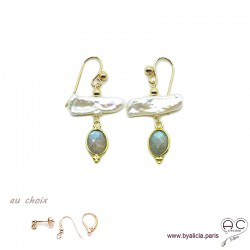 Boucles d'oreilles perles de culture baroques bâton et labradorite, plaqué or, pierre naturelle, création by Alicia
