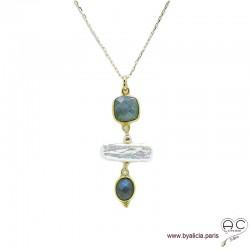 Collier, pendentif labradorite et perles de culture baroques bâton, plaqué or, pierre naturelle, création by Alicia