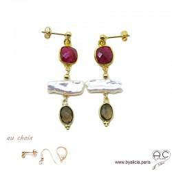 Boucles d'oreilles indien rubis, quartz fumé et perles de culture baroques bâton, plaqué or, création by Alicia