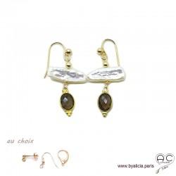Boucles d'oreilles perles de culture baroques bâton et quartz fumé, plaqué or, pierre naturelle, création by Alicia