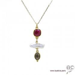 Collier, pendentif indien rubis, quartz fumé et perles de culture baroques, plaqué or, pierre naturelle, création by Alicia