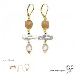 Boucles d'oreilles pierre de soleil, quartz rose et perles de culture baroques bâton, plaqué or, création by Alicia