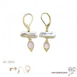 Boucles d'oreilles perles de culture baroques bâton et quartz rose, plaqué or, pierre naturelle, création by Alicia