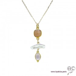 Collier, pendentif pierre de soleil, quartz rose et perles de culture baroques, plaqué or, pierre naturelle, création by Alicia