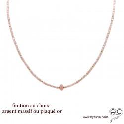 Collier LALY en rhodochrosite, pierre naturelle rose poudrée, ras de cou fin, fait main, création by Alicia