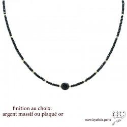 Collier en spinelle noire, pierre semi-précieuse, ras de cou fin, tendance, fait main, création by Alicia