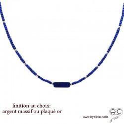 Collier LALY en lapis lazuli, ras de cou fin, choker en pierre naturelle bleu, fait main, création by Alicia