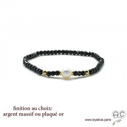 Bracelet spinelle noir et perle de culture blanche en plaqué or ou argent massif, élastique, création by Alicia