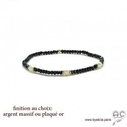 Bracelet spinelle noir et perles de culture blanches en plaqué or ou argent massif, élastique, création by Alicia