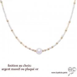Collier LALY perles de culture d'eau douce blanche, ras de cou fin, choker, fait main, création by Alicia