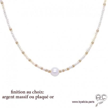 Collier LALY perles de culture d'eau douce blanche, ras de cou fin, fait main, création by Alicia
