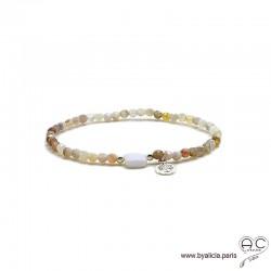 Bracelet agate botswana et agate blanche, pierre naturelle, pampille arbre de vie, argent massif, élastique, création by Alicia