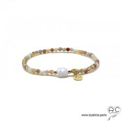 Bracelet agate botswana et agate blanche, pierre naturelle, pampille arbre de vie, plaqué or 3MIC, élastique, création by Alicia
