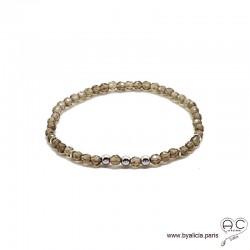 Bracelet quartz fumé, pierre naturelle, argent massif, femme, gipsy, bohème, création by Alicia