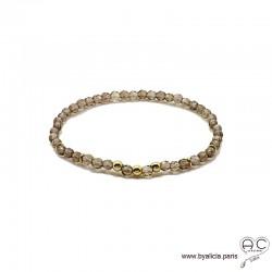 Bracelet quartz fumé, pierre naturelle, plaqué or 3MIC, femme, gipsy, bohème, création by Alicia