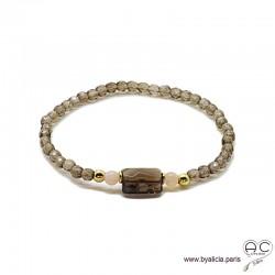 Bracelet quartz fumé, plaqué or 3MIC, pierre naturelle marron, femme, gipsy, bohème, création by Alicia