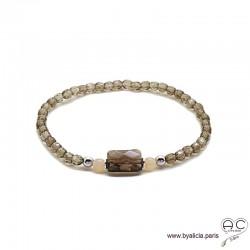 Bracelet quartz fumé, argent massif, pierre naturelle marron, femme, gipsy, bohème, création by Alicia