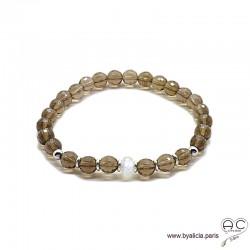 Bracelet quartz fumé, pierre de lune, pierres semi-précieuses, argent massif, femme, gipsy, bohème, création by Alicia