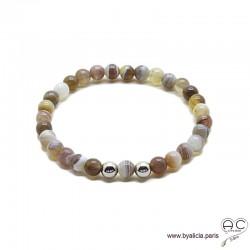 Bracelet agate botswana, pierre semi-précieuse, argent massif, femme, gipsy, bohème, création by Alicia
