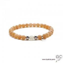 Bracelet pierre de soleil et pierre de lune, médaille, argent massif, pierres semi-précieuses abricot, création by Alicia