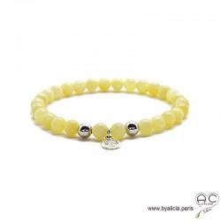 Bracelet jade miel avec médaille arbre de vie, argent massif, pierres semi-précieuses abricot, création by Alicia