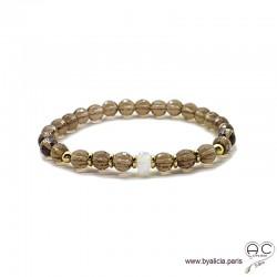 Bracelet quartz fumé, pierre de lune, pierres semi-précieuses, plaqué or 3MIC, femme, gipsy, bohème, création by Alicia
