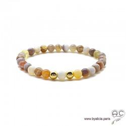 Bracelet agate botswana, pierre semi-précieuse, plaqué or 3MIC, femme, gipsy, bohème, création by Alicia