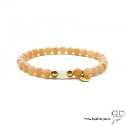 Bracelet pierre de soleil et pierre de lune, médaille, plaqué or 3MIC, pierres semi-précieuses abricot, création by Alicia